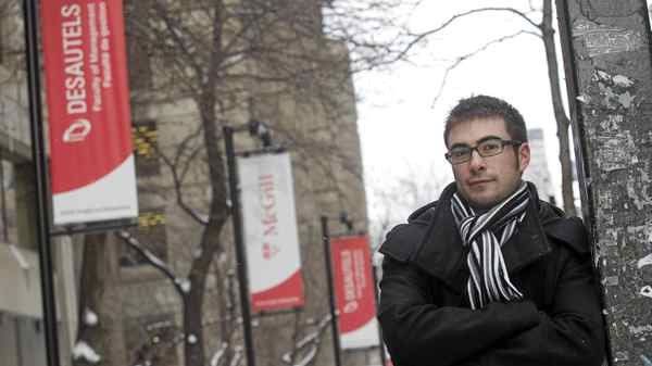 Pat Tenneriello, a first-year MBA student poses on McGill campus, in Montreal, Quebec, December 20, 2010.