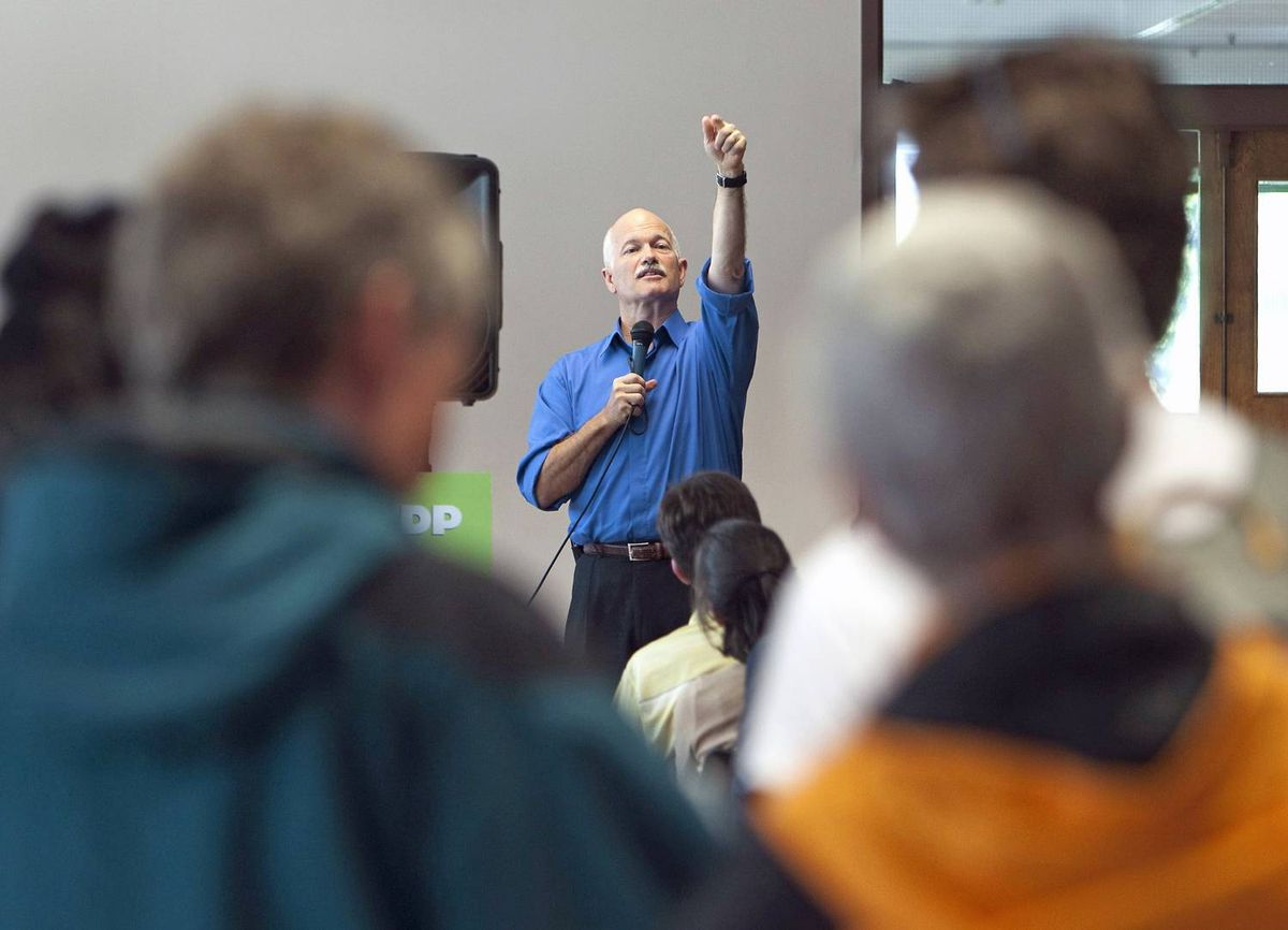 NDP Leader Jack Layton answers questions at the University of British Columbia on Sept. 10, 2009.