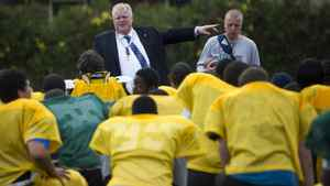 Mayor elect Rob Ford takes part in practice as coach of Don Bosco high school football team in Etobicoke, Ont. Oct. 26/2010.