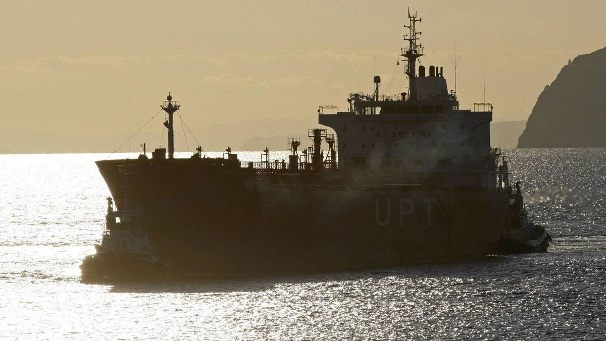 An oil tanker at the Repsol oil refinery in Cartagena, Spain, Feb. 15, 2012. Oil is at a six-month high of $120 (U.S.) a barrel on concern about supply from Iran, and Iran is looking for new customers for its oil to replace EU nations that have imposed sanctions on Tehran.