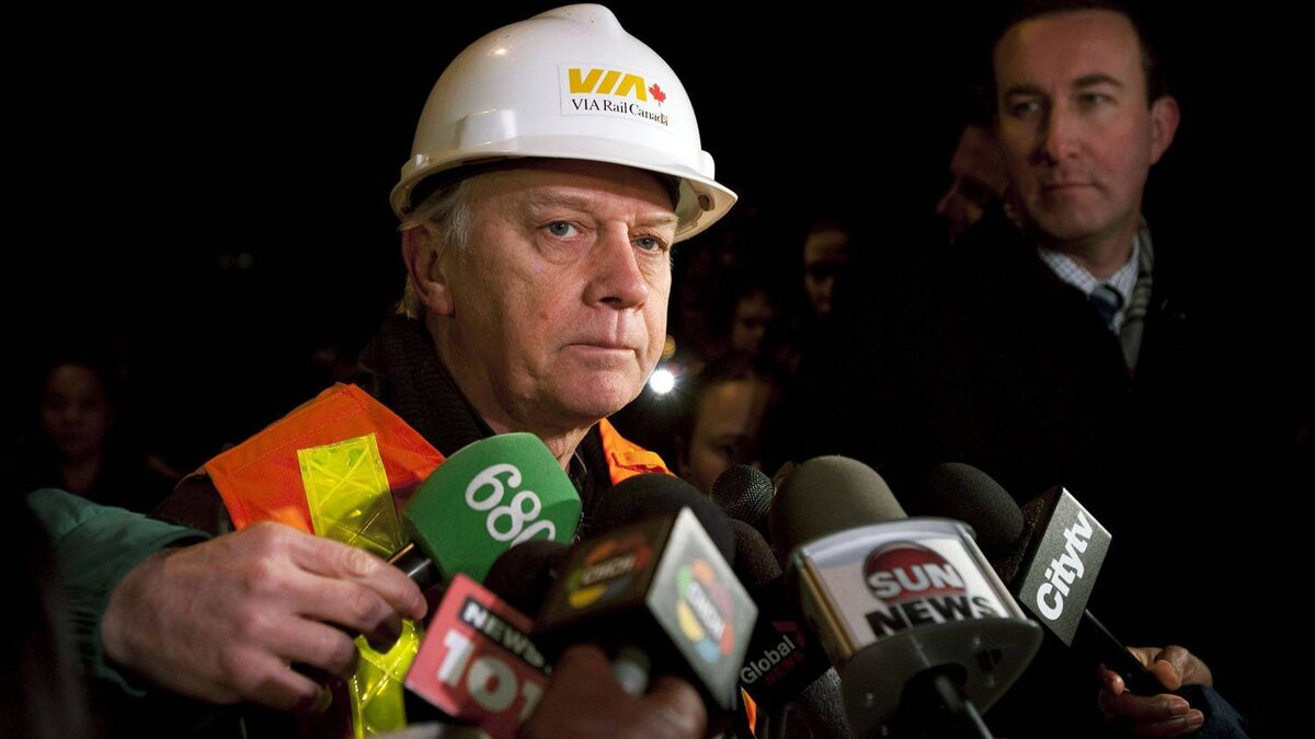 VIA Rail Chief of Operations John Marginson speaks to the media about a passenger train that derailed in Burlington, Ont.