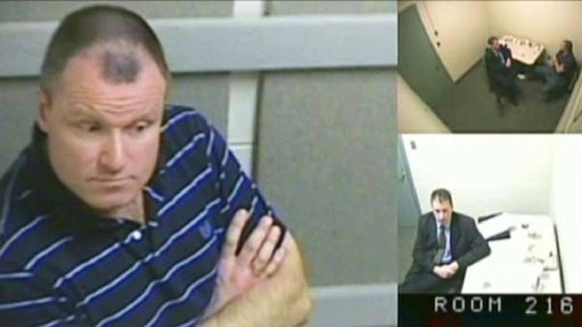 Col. Russell Williams is shown in this court-released image from his interrrogation by police captured on video and shown Wednesday in a Belleville, Ont. courtroom. Williams told police that while he did ask himself why he raped and killed women he could never come up with an answer and he was pretty sure the answers don't matter.