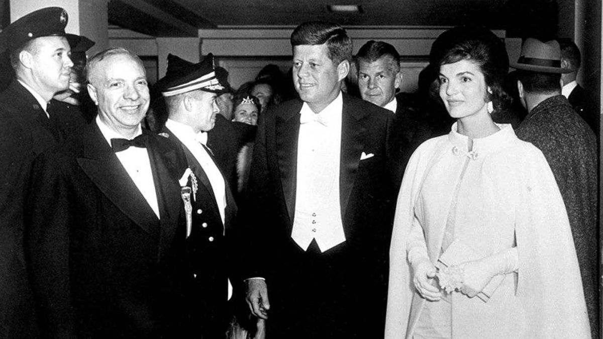 President John F. Kennedy and his wife arrive for the Inaugural Ball in 1961.