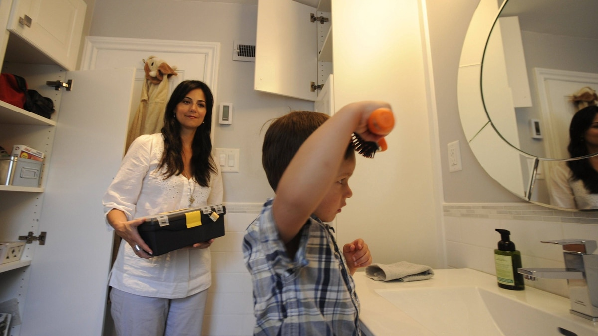 Selina Esteves and her three-and-a-half-year-old son Hudson are photographed in their Toronto home on May 28, 2012, as part of an awareness campaign for Safe Kids Canada.