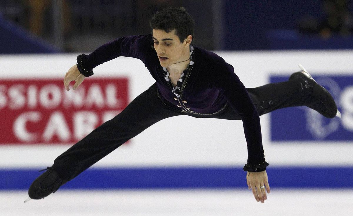Javier Fernandez of Spain performs during the men's free skating event at the ISU World Figure Skating Championships in Nice March 31, 2012.