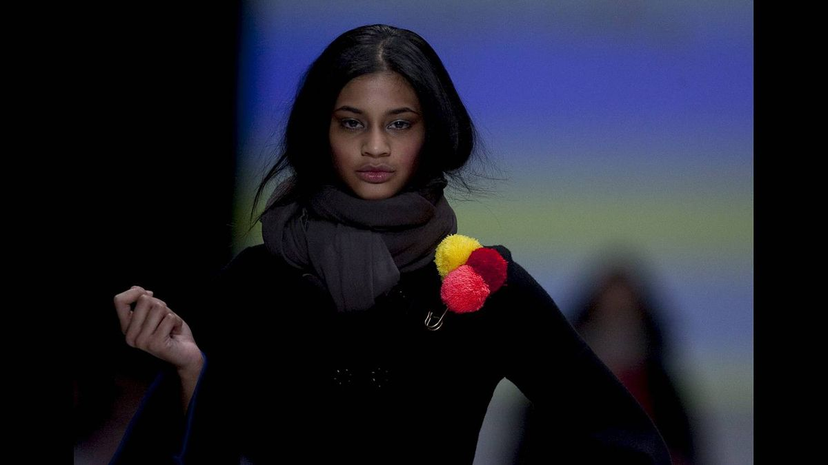 """A model shows a creation by Greta Constantine during Holt Renfrew's """"Can't live without Canadian Fashion"""" show during Toronto Fashion Week on Monday March 28, 2011."""