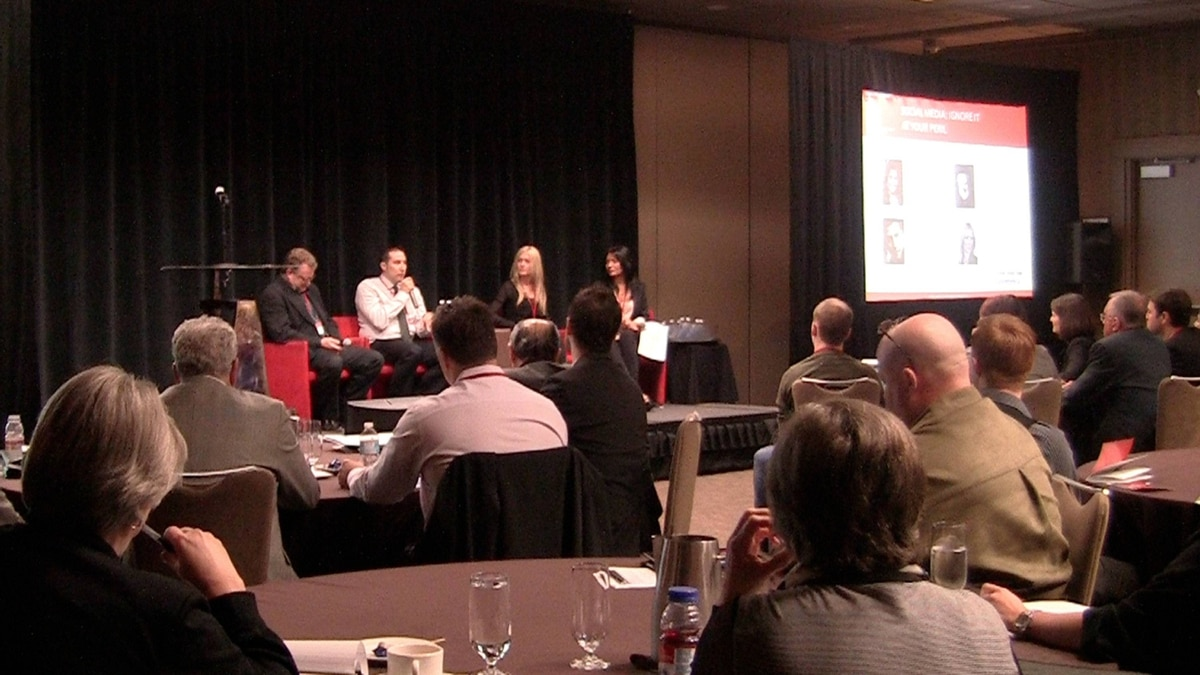 Panelists of the 'Social Media: Ignore It At Your Peril' session explain the common mistakes businesses make and the right tools for the job at the Small Business Summit in Calgary.