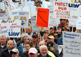Former employees and pensioners of Nortel are joined by supporters during a demonstration on Parliament Hill in Ottawa