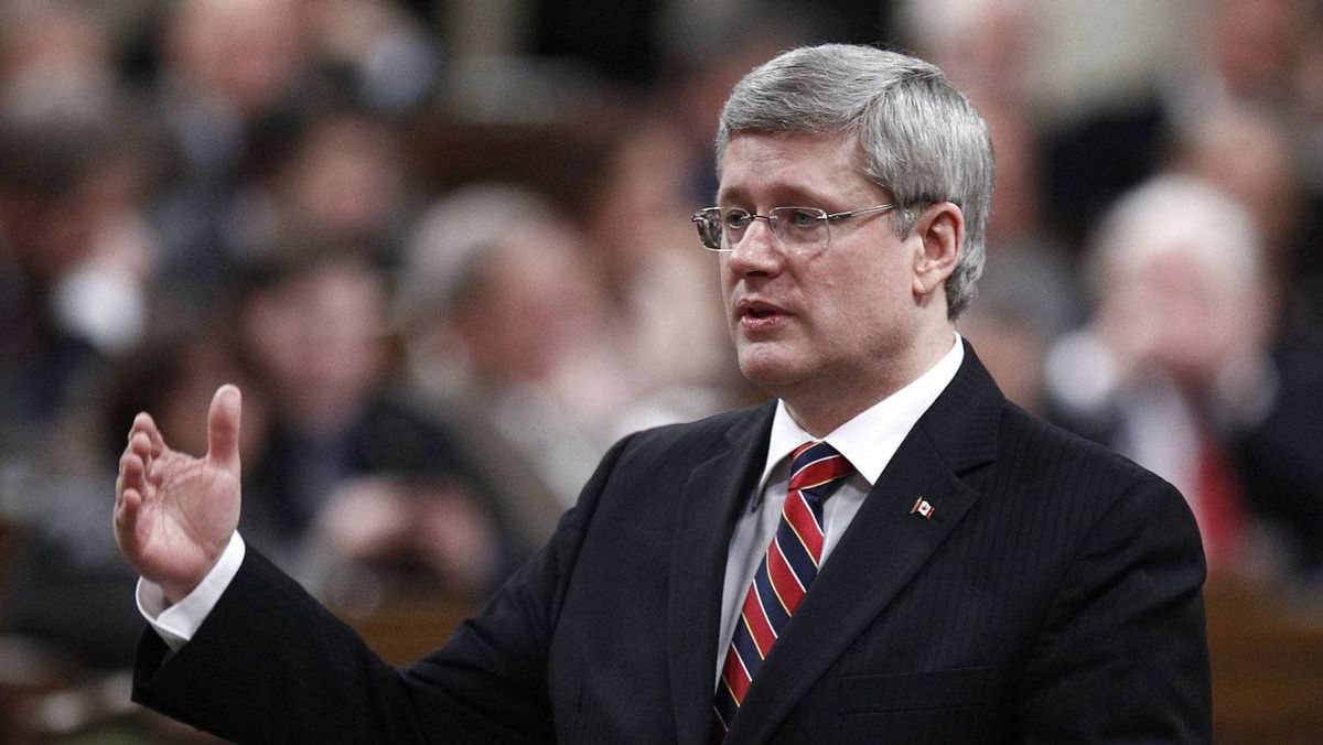 Prime Minister Stephen Harper speaks during Question Period in the House of Commons on Feb. 1, 2012.