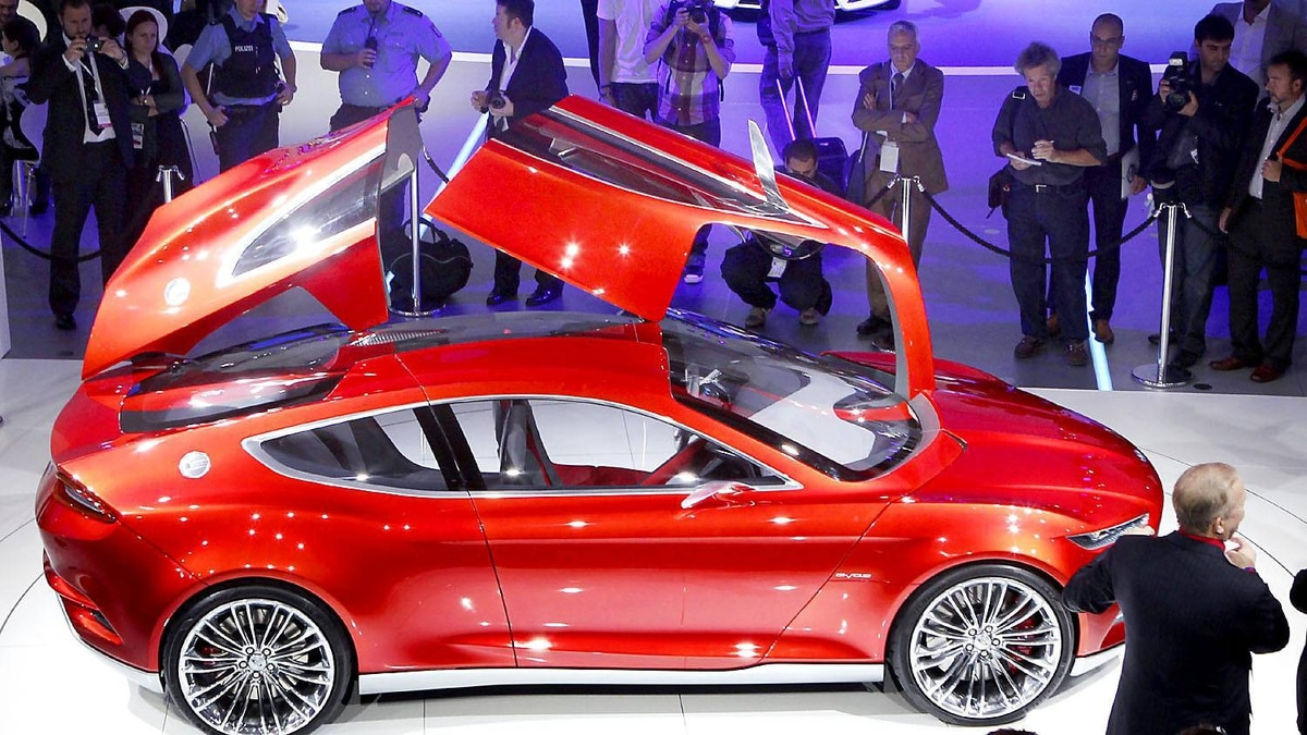 Ford Evos concept car at the 64th Frankfurt Auto Show in Frankfurt, Germany, Tuesday, Sept.13,2011.