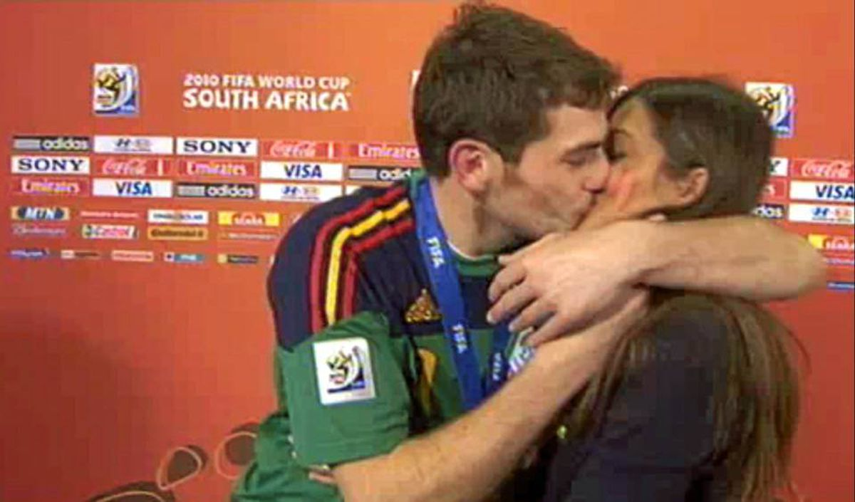 Celebrating Spain's World Cup victory on Sunday, goalkeeper Iker Casillas decided to make out with his sportscaster girlfriend Sara Carbonero - on air as she interviewed him after the game.