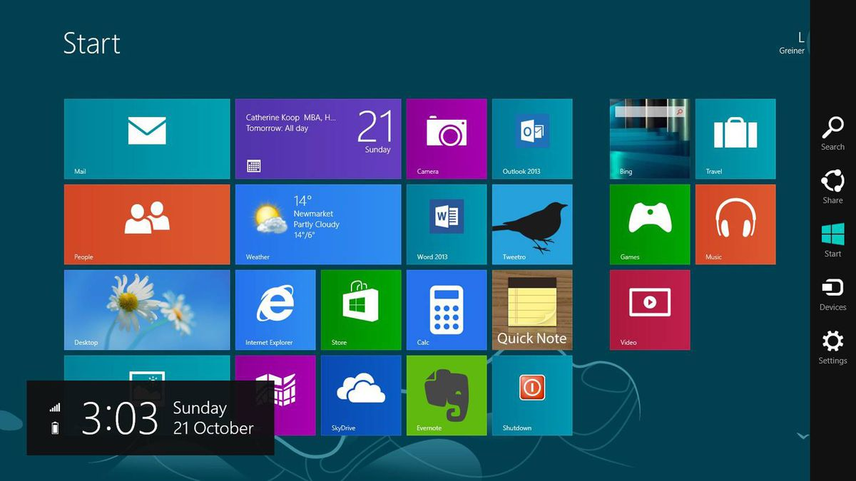 Those icons in the black column on the right side of the screen (which only appears when you mouse over that area) are called Charms. They're available to all Windows 8 apps, and are context-sensitive. On the Start screen, for example, Settings gets you to more general PC settings, while in an app like Quick Note, you find app-specific options.