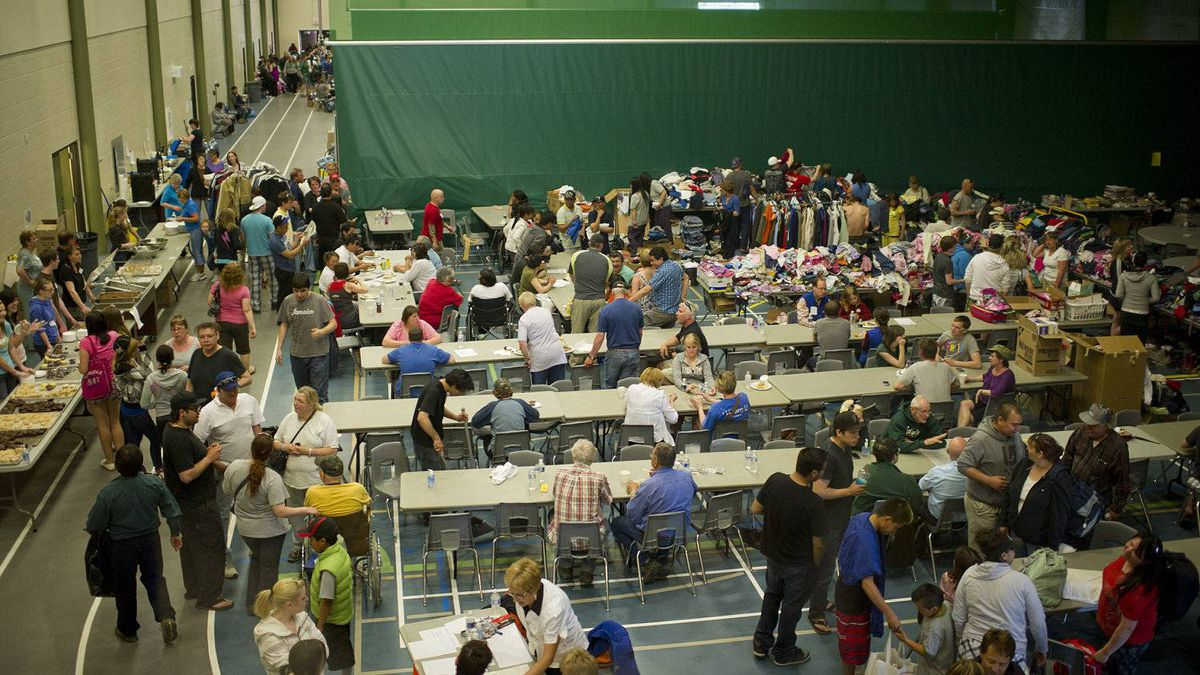 Residents of Slave Lake find refuge at the Athabasca Regional Multiplex.