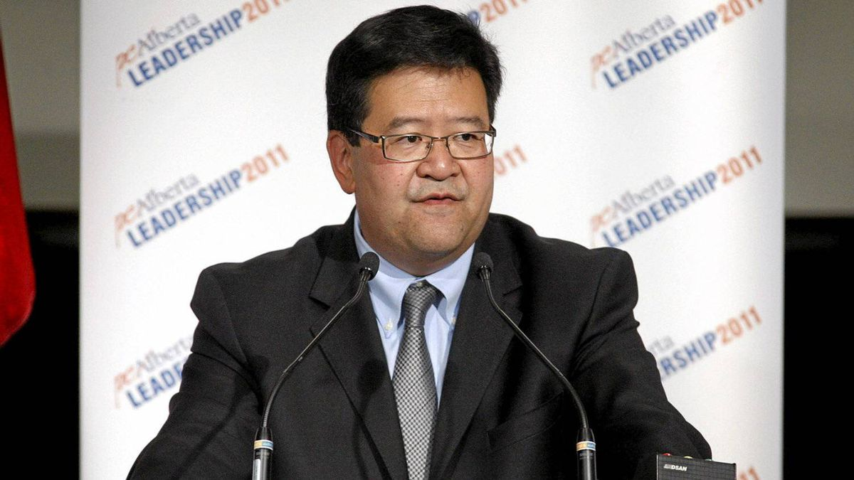 Candidate Gary Mar delivers his opening remarks during an Alberta PC Party leadership debate in Calgary, Alta., Wednesday, Sept. 7, 2011.