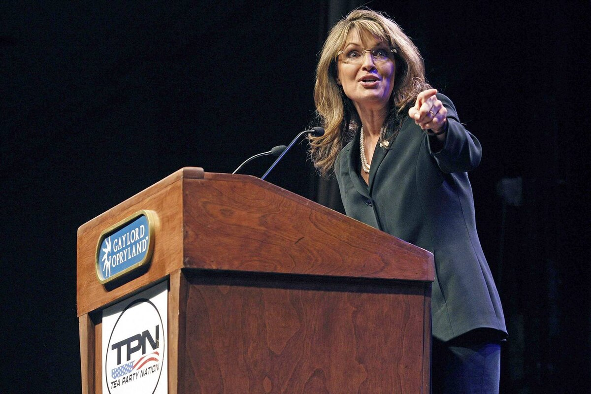 Sarah Palin speaks during the National Tea Party Convention at Gaylord Opryland Hotel in Nashville, Tenn., on February 6, 2010.