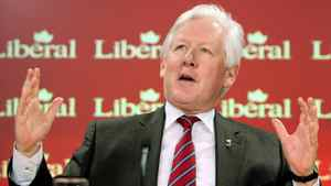 Liberal MP and foreign affairs critic Bob Rae holds a news conference in Ottawa on Feb. 24, 2011.