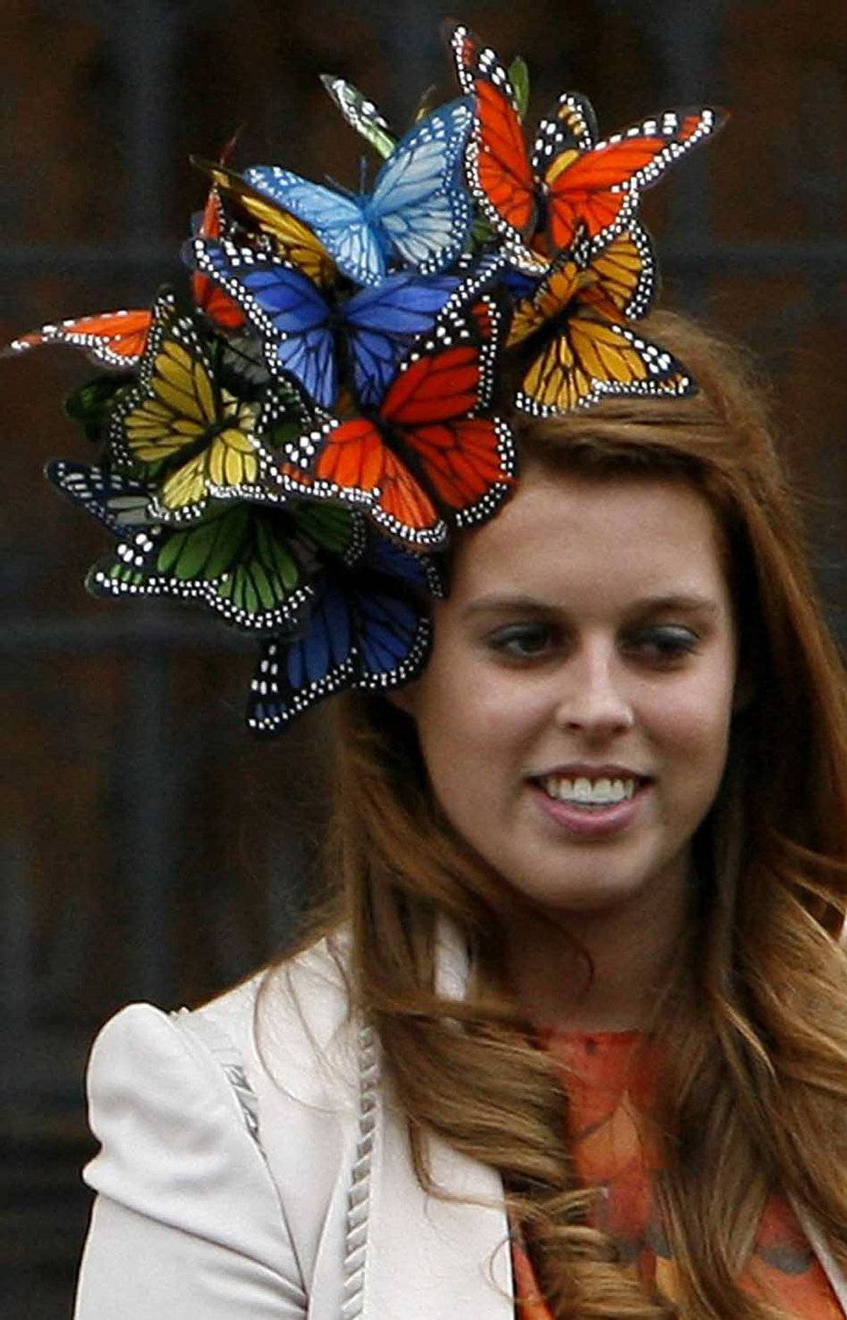 Britain's Princess Beatrice leaves St George's Chapel in Windsor, England, after the wedding of Peter Phillips, grandson of Britain's Queen Elizabeth II and Canadian Autumn Kelly, Saturday May 17, 2008.