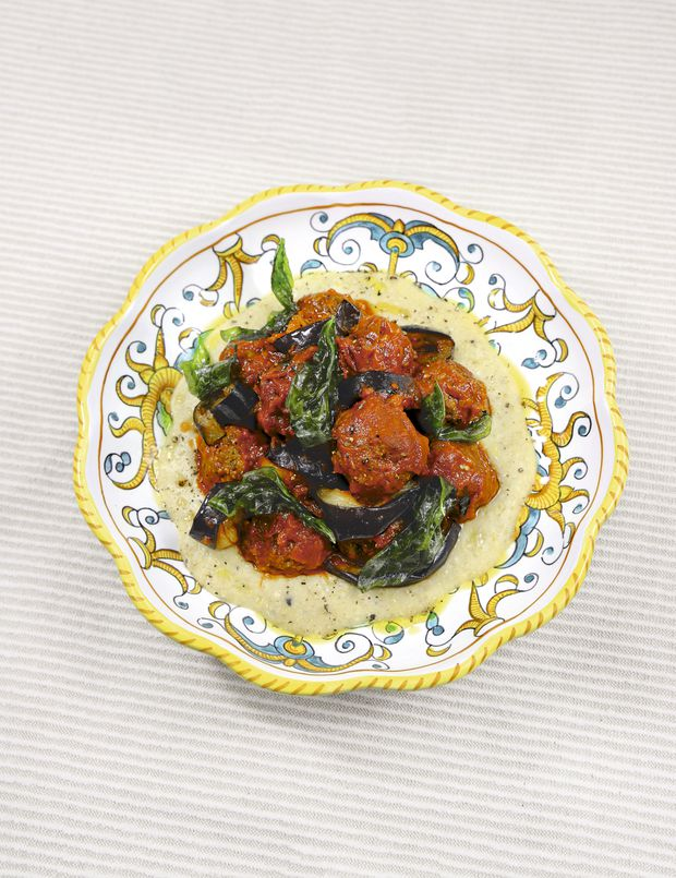 Big Mamma's meatballs with aubergine and polenta