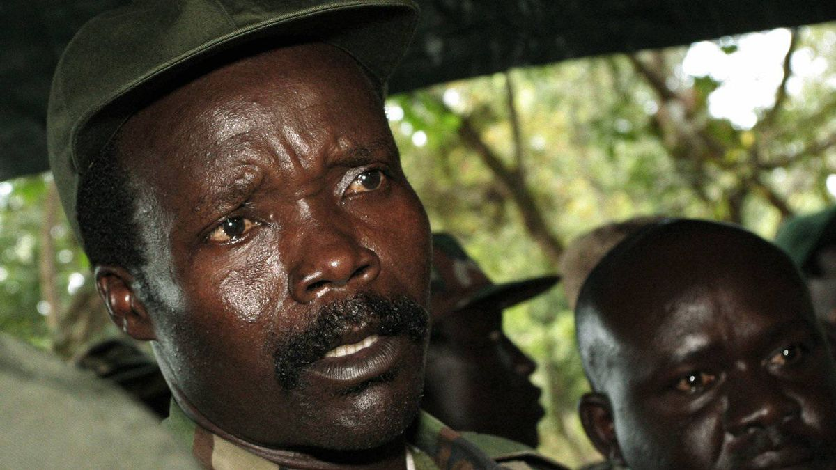 Joseph Kony, leader of the Lord's Resistance Army, speaking to journalists after a meeting with the UN humanitarian chief Ri-Kwamba in southern Sudan November 12, 2006.