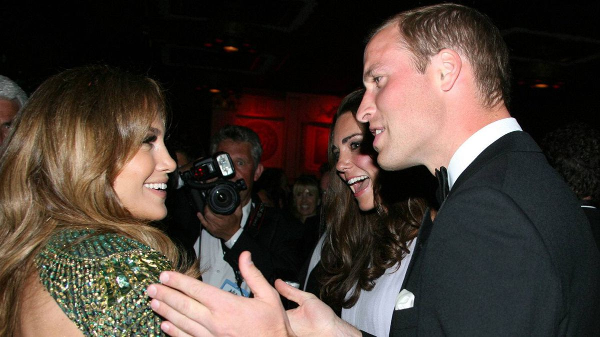 """Prince William and Kate have an animated conversation with actress Jennifer Lopez at the inaugural """"BAFTA Brits to Watch"""" event at the Belasco Theatre in Los Angeles on July 9, 2011."""