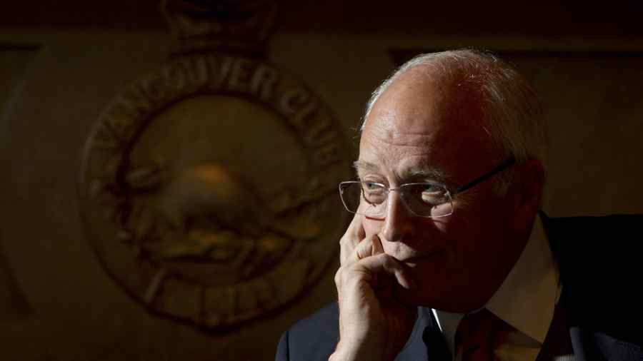 Former U.S. vice-president Dick Cheney pauses during an interview at the Vancouver Club on Monday. Mr. Cheney was in town to speak with the Bon Mot Book Club to promote his new memoir.