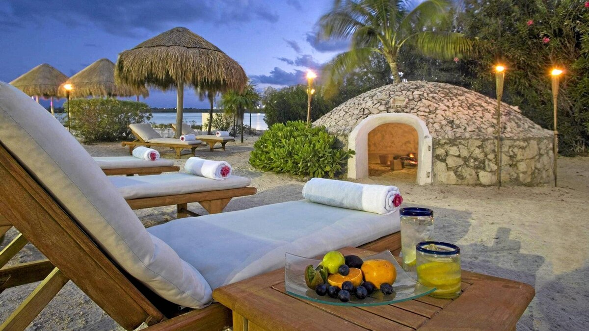 A Temazcal sweat lodge at Westin Resort and Spa in Cancun, Mexico.