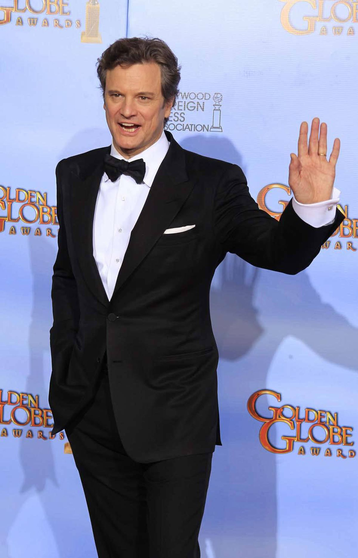 """Stop torturing that poor animal!"" demands Colin Firth at the Golden Globe Awards in Beverly Hills on Sunday."