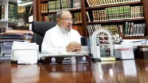 Sunni scholar Sheikh Yusuf al-Qaradawi photographed at the university in Qatar.