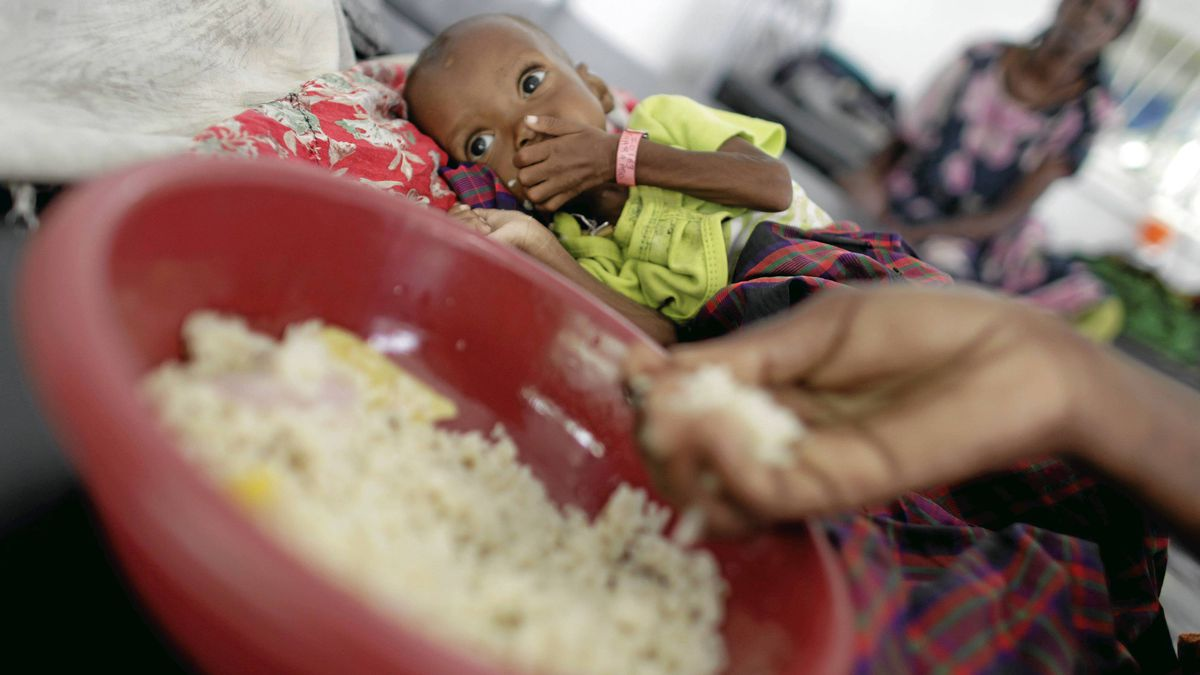 Children and their mothers receiving food and treatment , mostly for severe malnutrition and measels, at the hospital that MSF has established in Mogadishu, Somalia on Sept. 7, 2011.