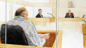 An artist's sketch shows RCMP Inspector Don Adam , second left, being questioned as Judge James Williams listens, along with accused serial killer Robert Pickton during court proceedings in January, 2007.