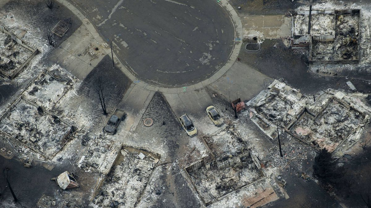 The south-east corner of Slave Lake, was destroyed by fires. An aerial view around Slave Lake, Alberta on May 19, 2011.