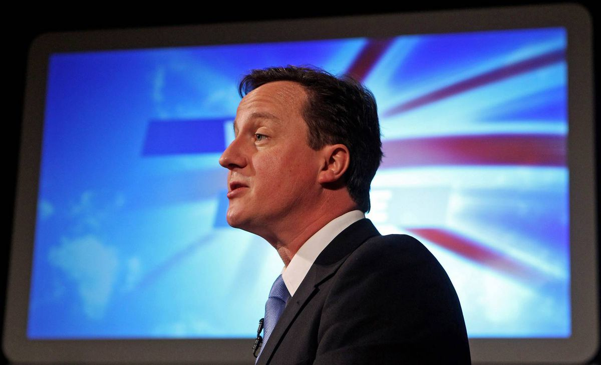 British Conservative Leader David Cameron delivers his election manifesto to an audience in Prestatyn, Wales, on April 16, 2010.