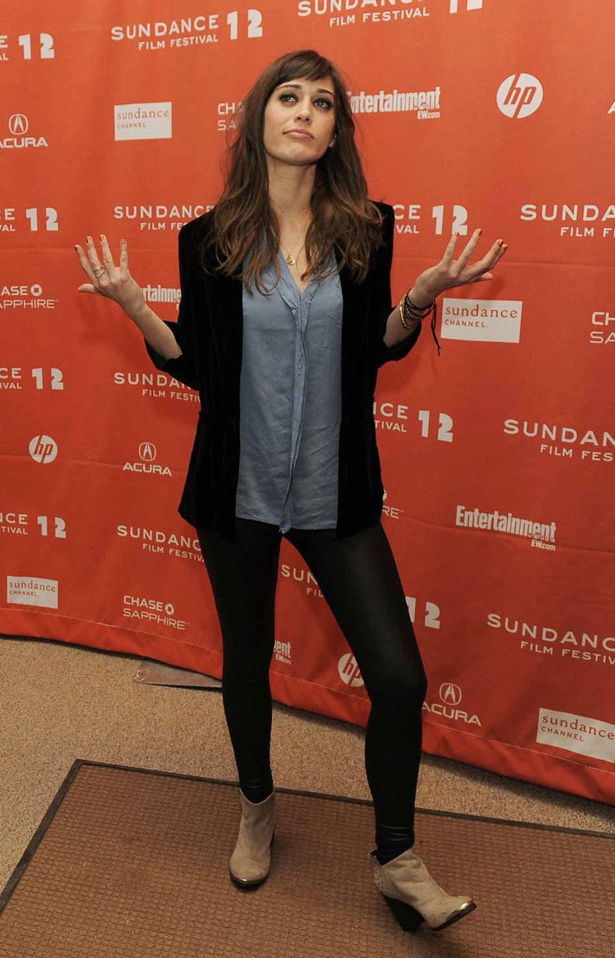 """""""Let's see: I put on a shirt, a jacket, some shoes and my pantyhose. Nope, I'm not forgetting anything,"""" says Lizzy Caplan at the Sundance Film Festival on Monday."""