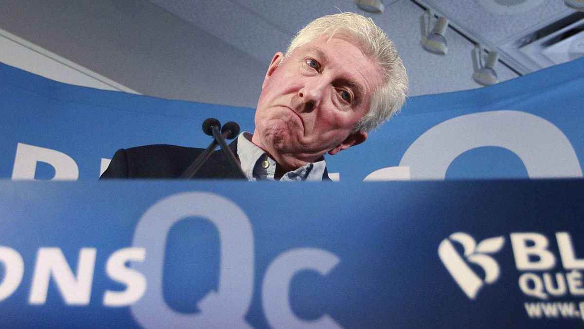 Bloc Leader Gilles Duceppe addresses a campaign rally in Montreal on April 10, 2011.