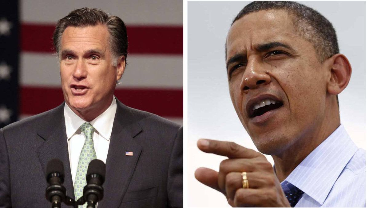 (L) Mitt Romney pictured in Lansing, Michigan May 8, 2012 and U.S. President Barack Obama in Port of Tampa in Florida, April 13, 2012.