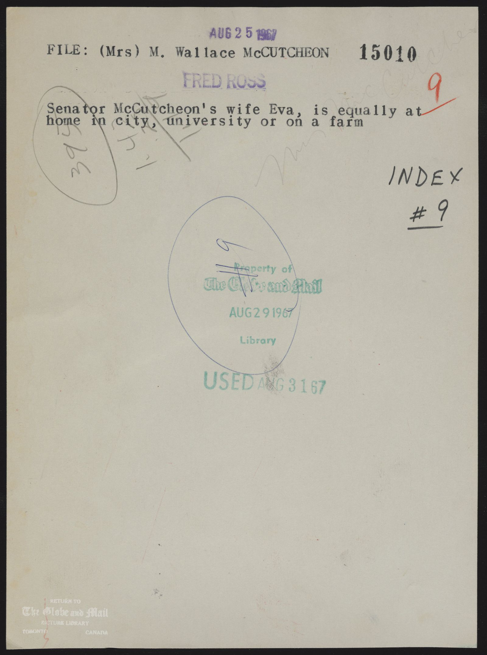 The notes written and typed on the back of this photograph, from the time it was printed, are as follows: (Mrs) M. Wallace McCUTCHEON,Senator McCutcheon's wife Eva, is equally at home in city, university or on a farmAugust 25, 1967,FRED ROSS