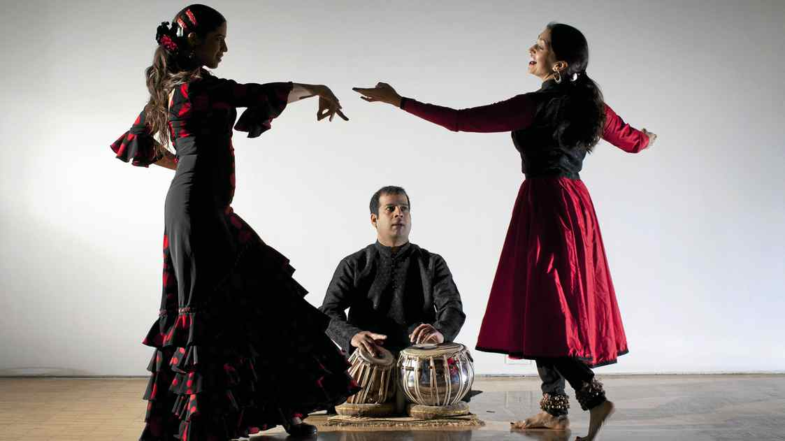 Bageshree Vaze (right) is an Indian classical (Kathak) dancer, tabla player Vineet Vyas and flamenco dancer Ilse Gudino rehearse a performance at Harbourfront Centre April 27, 2011.