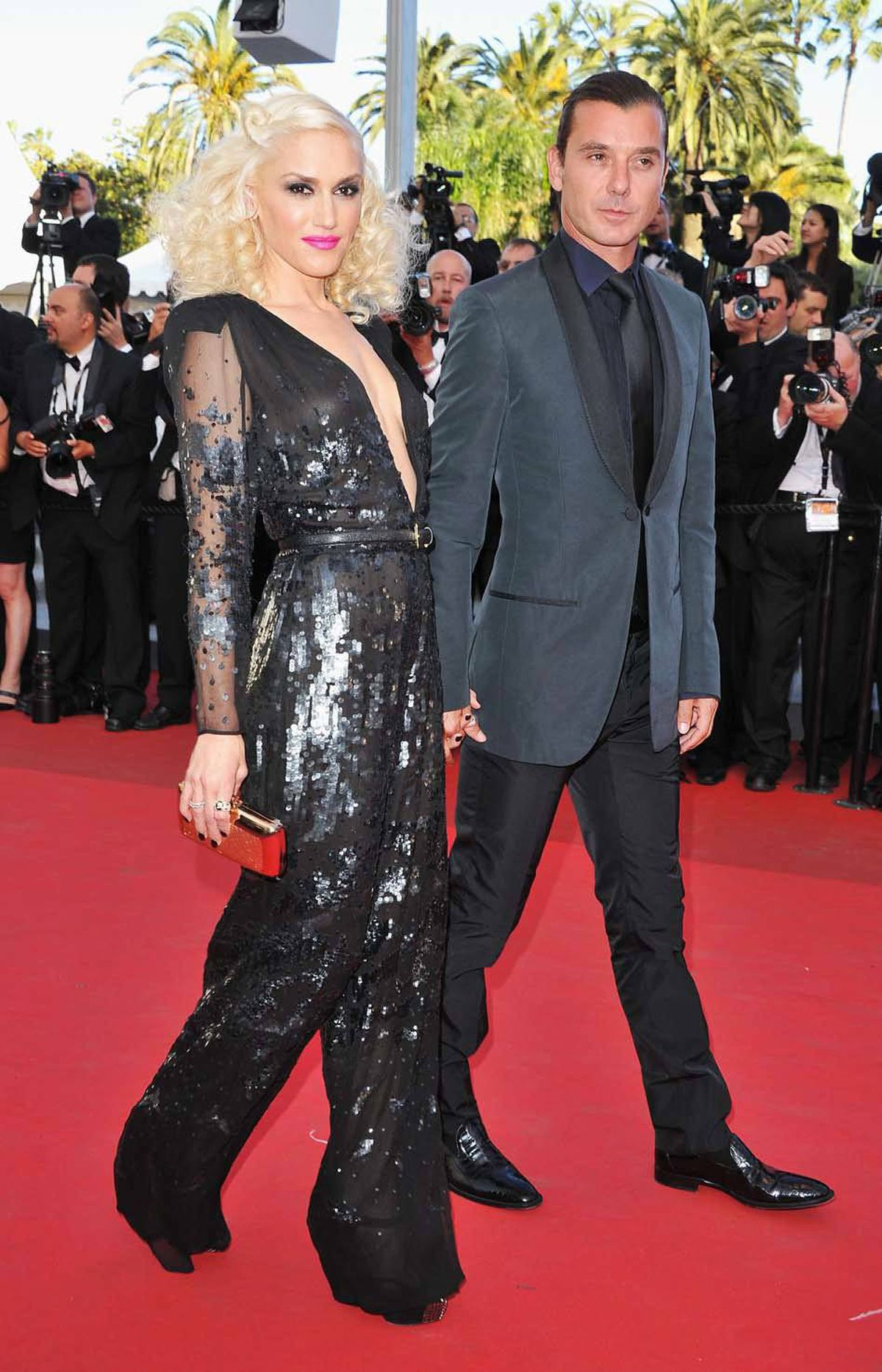"""Gwen Stefani and husband Gavin Rossdale attend """"The Tree Of Life"""" premiere at the Cannes Film Festival on Monday."""
