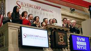 Employees and guests of Silvercorp Metals attend the opening bell at the New York Stock Exchange March 8, 2010. The company is also listed on the Toronto Stock Exchange.