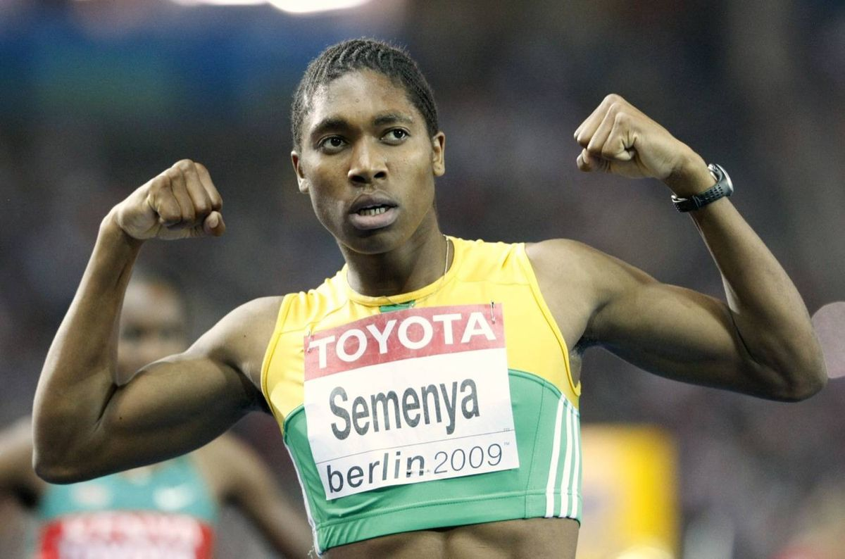 South Africa's Caster Semenya celebrates after winning a gold medal at the World Athletics Championships in Berlin.