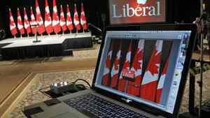 The Liberal Party sets up its gear ahead of Michael Ignatieff's election-night rally in Toronto on May 2, 2011.