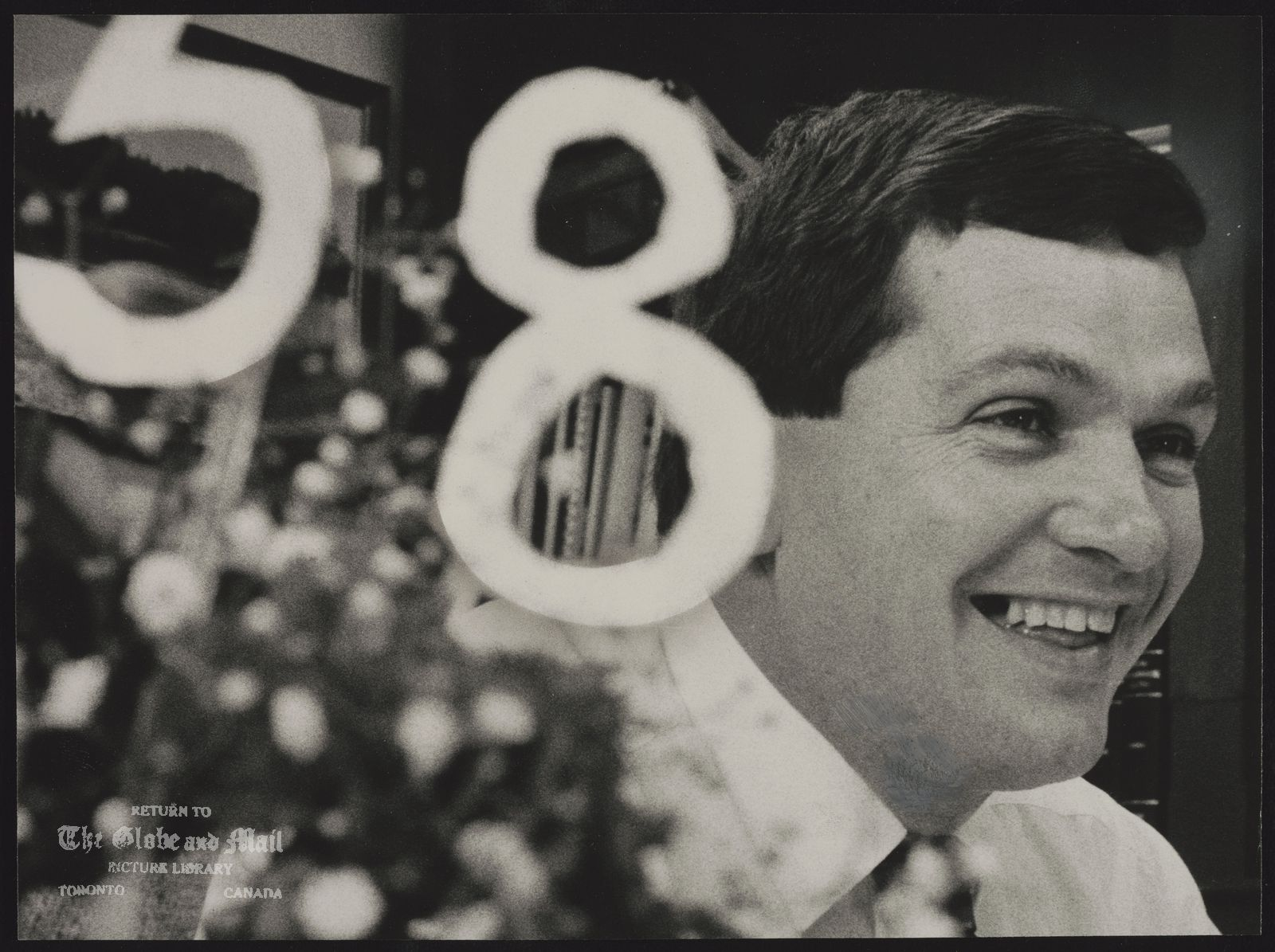 Frank McKENNA N.B. Politician Premier-elect Frank McKenna had bouquet of flowers with number 58 sitting on top of it waiting on his desk when he arrived at office yesterday.