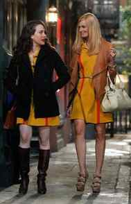 COMEDY 2 Broke Girls CBS, CITY-TV, 8:30 p.m. ET/PT Already renewed for next season, this sitcom gets more viewers with each new episode. As the warm-up show for Two and a Half Men, the workplace comedy revolves around two humble waitresses: Streetwise Max (Kat Dennings) is the poor kid with big dreams of opening her own cupcake store; co-worker Caroline (Beth Behrs) is the dense trust-fund princess currently short on funds, thanks to her father running a Ponzi scheme. The pair butted heads in the first several episodes but by now they best friends forever, as evidenced in tonight's new episode in which Max convinces Caroline to take part in a clinical drug trial in an attempt to help Caroline's father.