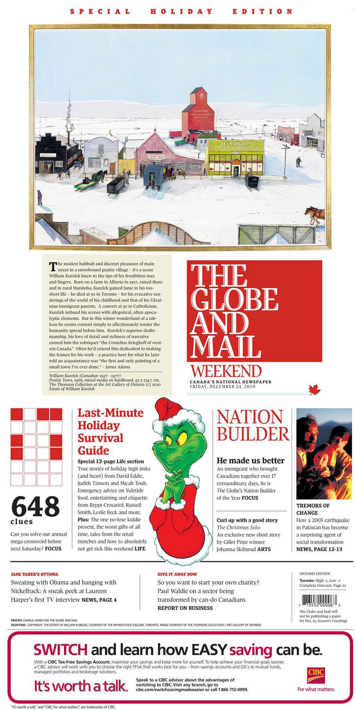 Cover of The Globe and Mail, Dec. 24, 2010