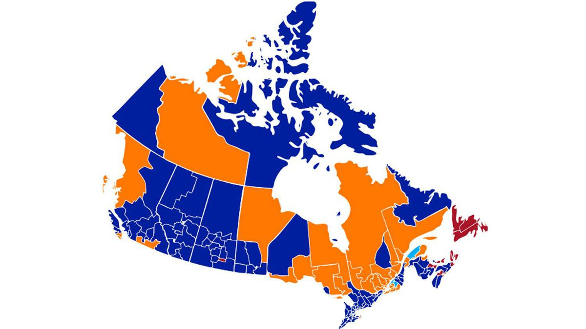 Canada's electoral map after 2011 election.