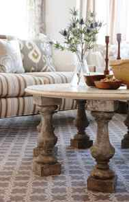 ONE-OF-A-KIND COFFEE TABLES Try one of these for a focal point/activity surface that's both tough and unique. Create a sturdy yet inexpensive base by attaching reclaimed balusters to plywood discs, then cap them with a round piece of honed marble, affixing it so it doesn't move.