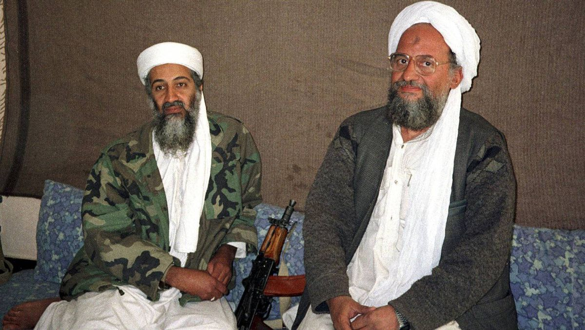 Osama bin Laden, left, sits with his adviser and purported successor Ayman al-Zawahri, an Egyptian linked to the al Qaeda network, on November 10, 2001.