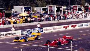 1986 Budweiser Portland 200 Mario Andretti won by 0.07 seconds on Father's Day after passing son Michael, who ran out of fuel within sight of the finish line on the final lap.
