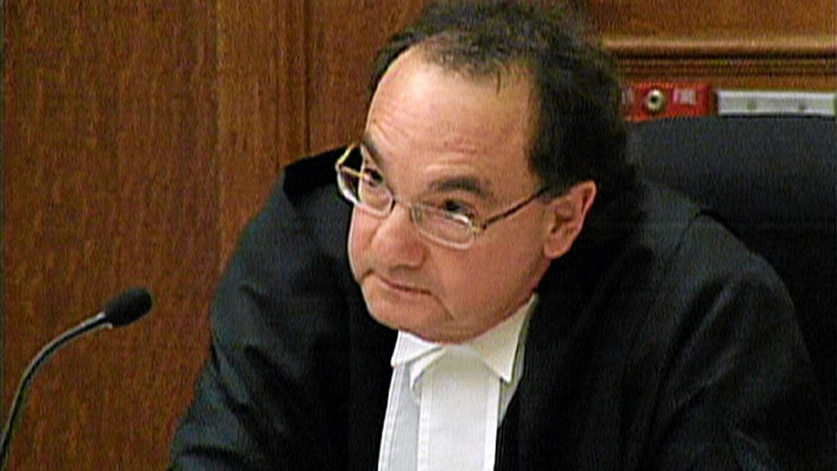 Prime Minister Stephen Harper has nominated two Ontario judges to fill vacancies at the Supreme Court of Canada – Justice Andromache Karakatsanis and Justice Michael J. Moldaver. In this television image Justice Michael Moldaver asks Steven Truscott's lawyer James Lockyer a question during the opening address at the Ontario Court of Appeal in Toronto.