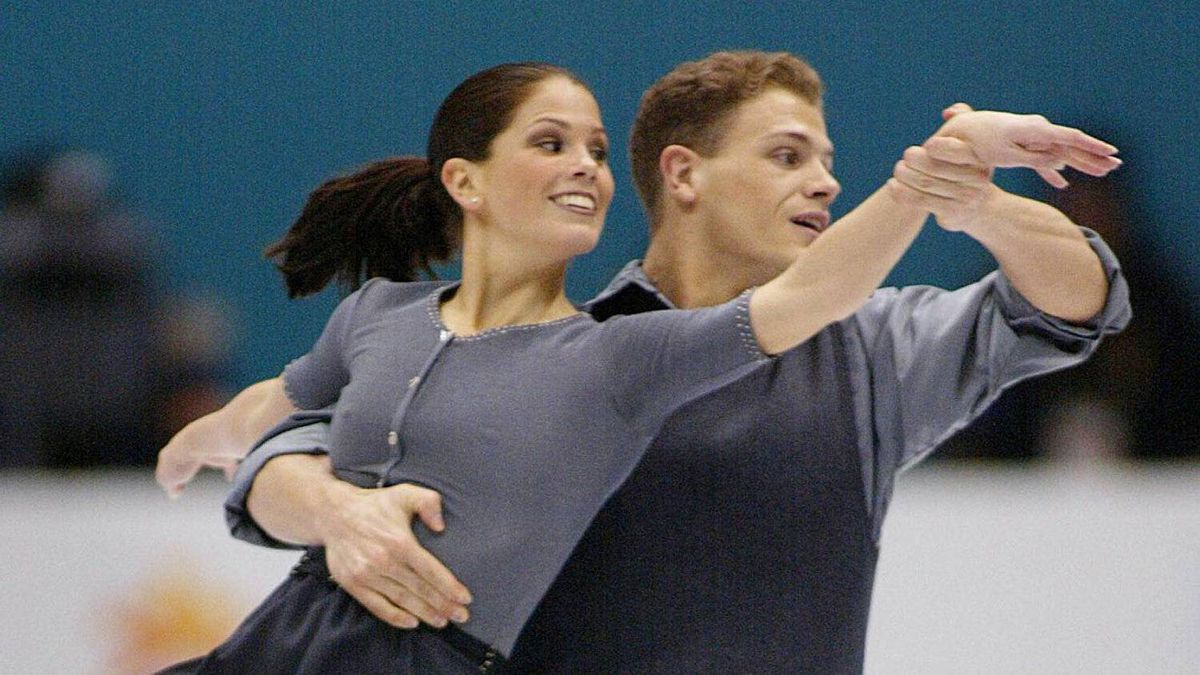 Jamie Salé and David Pelletier perform their pairs free skate to win the Olympic silver medal at the XIX Olympic Winter Games in Salt Lake City, Utah, Monday, Feb. 11, 2002.